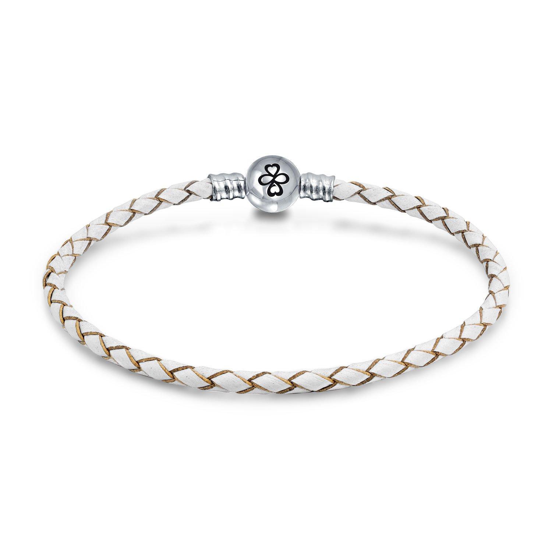 AYLLU .925 Silver Round Barrel Clasp White Leather Charm Bead Bracelet