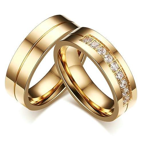Bishilin 6MM Acero Inoxidable Chapado en 18K Oro Anillos de Compromiso Boda para Él y Ella(Precio de 1pc): Amazon.es: Joyería