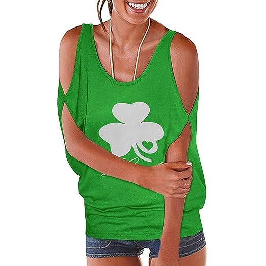 59e99ce931eec HIRIRI Women Short Sleeve Shirts Open Shoulder Tank Crop Tops Printed Lucky  Festival Vest Green