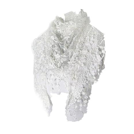 Echarpes et foulards Amlaiworld Femmes Mode Dentelle Écharpe à pompon  Imprimé floral à fleurs claires Châle écharpe Mantilla (140X40cm)  (140X40cm, ... f855e4b0856