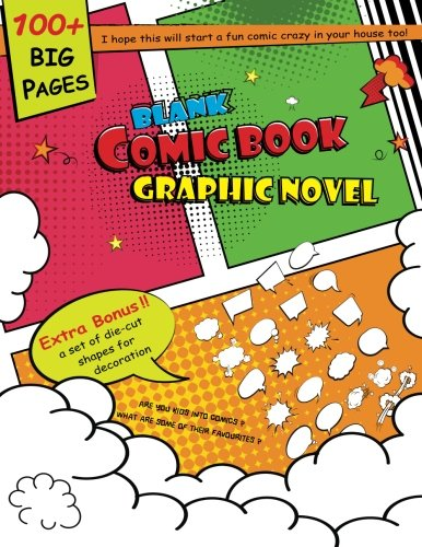 """Blank Comic Book Graphic Novel: 8.5""""x11"""" drawing book create your own funny story comic book lots of shape templates"""
