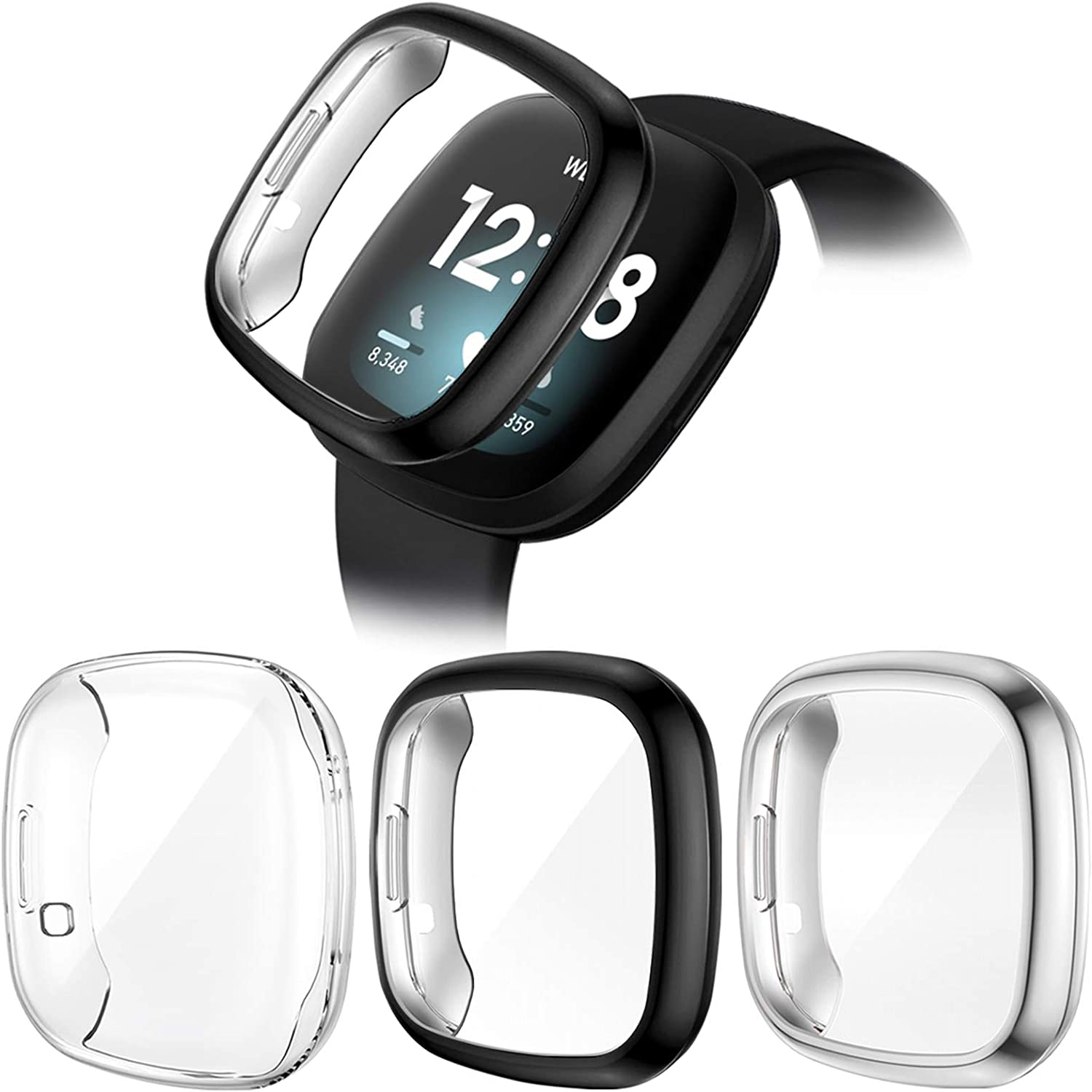 3 PACK TPU Plated Screen Protector Full-Cover Scratch-Proof Protective Case for Versa 3 CAVN Screen Protector Compatible with Fitbit Sense//Fitbit Versa 3 Screen Protector