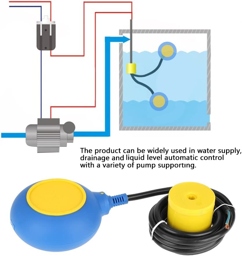 Interruptor de Flotador Controlador de Nivel de Agua l/íquida Sensor de contactor 220V 16A 2m//78.7inch Wandisy Sensor de Nivel de Agua de l/íquido l/íquido