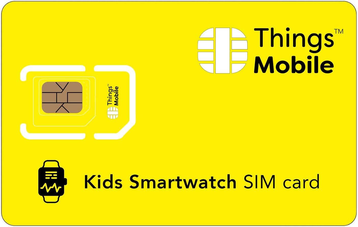Tarjeta SIM para SMARTWATCH / RELOJ INTELIGENTE PARA NIÑOS - Things Mobile - cobertura global, red multioperador GSM/2G/3G/4G, sin costes fijos, sin vencimiento. Crédito no incluido
