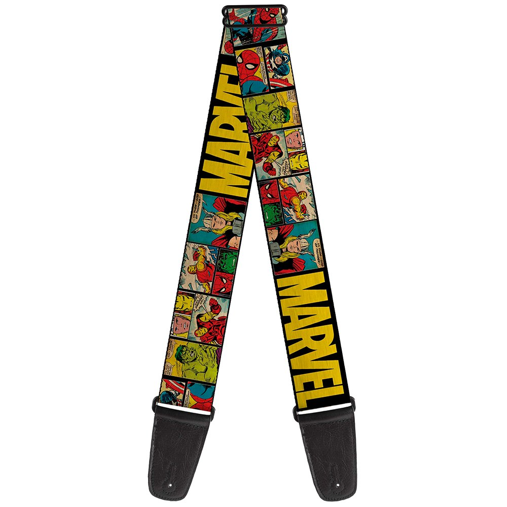 Buckle-Down Guitar Strap - MARVEL/Retro Comic Panels Black/Yellow - 2'' Wide - 29-54'' Length
