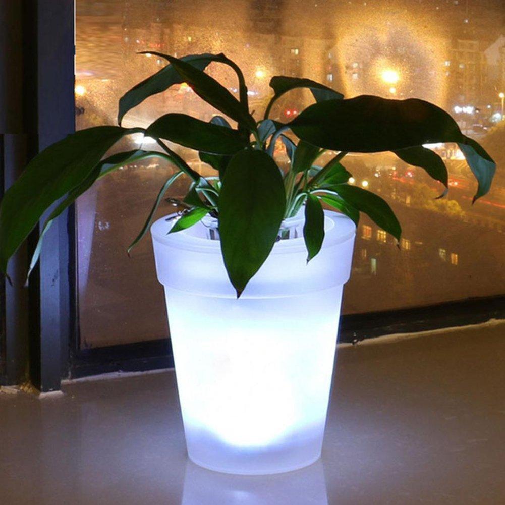 Maceta para jard/ín decoraci/ón Macetero con luz LED energ/ía Solar balc/ón LED Blanco Patio