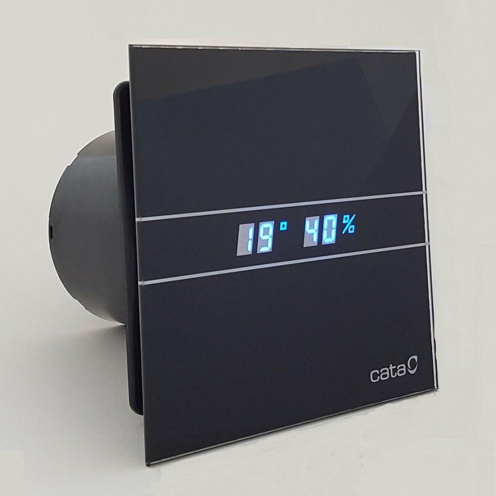 Cata | Extractor baño | Modelo e- 100 Gth BK | Estractor de baño Serie e Glass | Ventilador Extractores de aire | Extractor baño silencioso | Extractor aire para baño | color negro | 6 unidades