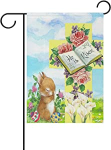 Wamika Happy Easter Cute Bunny Lily Flowers Garden Flag 12 x 18 Double Sided Flags Easter Eggs Flowers Welcome Spring Summer Yard Outdoor House Flag Banner Home Easter Day Carnival Decorations