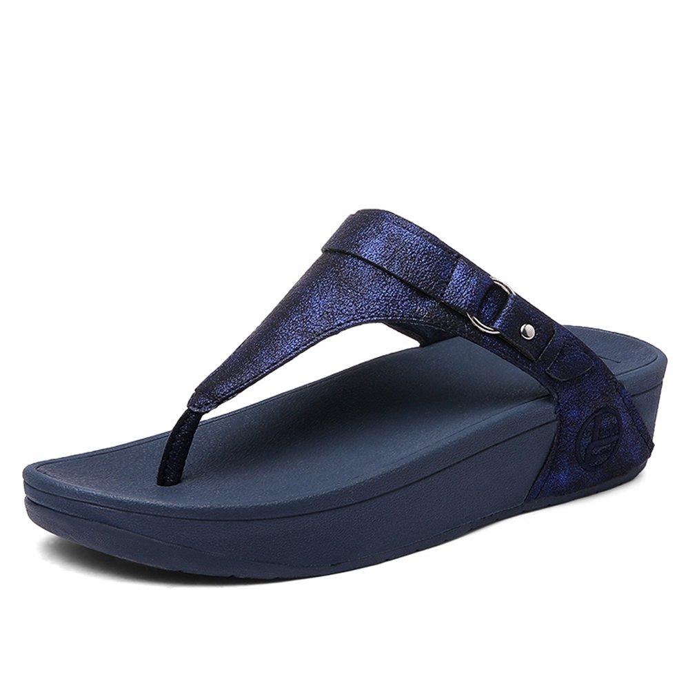 SHAKE Women's Leather Buckle Flip-Flops Summer Fashion Wedge Shoes Toe-Thong Sandals for Female (6.5US=Women EU 37, R031 Blue)