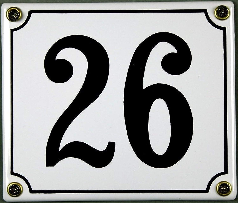 FS Emaille Hausnummer 26 wei/ß//schwarz Blechschild Schild Metal Sign 12x14 cm