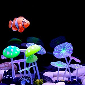 Aquazoo 2 PCS Packed Glowing Mushroom Decorations Fish Tank Decoration Silicone Ornament (Multi Color) (Multi Color)