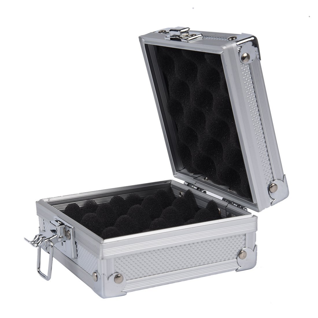 A fine gift Tattoo Equipment Box Professional Empty Tattoo Machine Box Aluminum Alloy Case With Sponge For Tattoos Equipments (Color : Silver)