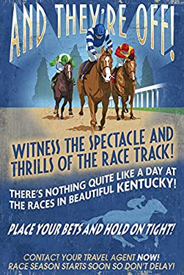 Kentucky - Horse Racing Vintage Sign (12x18 Collectible Art Print, Wall Decor Travel Poster)