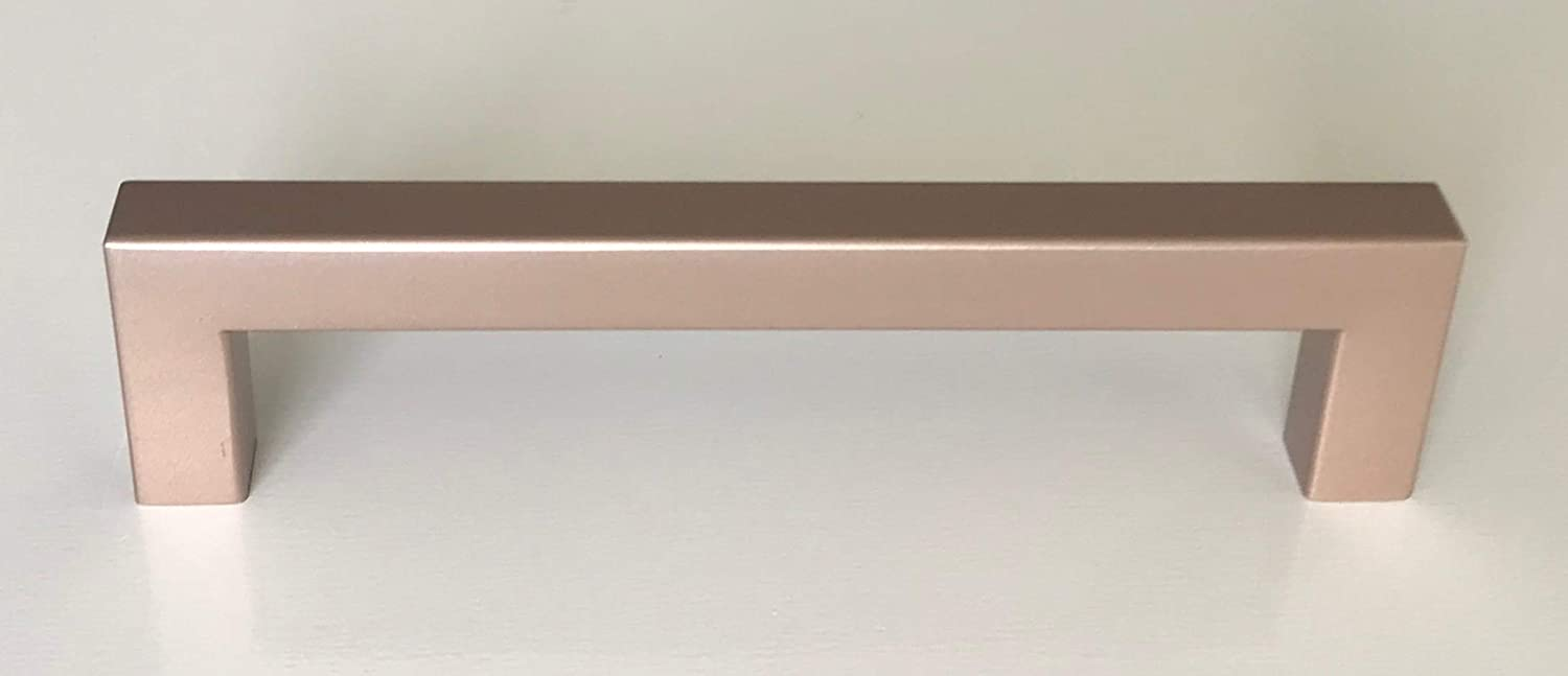 """5"""" Square Bar Pull Kitchen Cabinet Stainless Steel Handles (5"""" Rose Gold, 25 Pack)"""