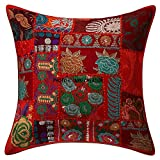 Indian Traditional Handmade Decorative Cushion Covers Patchwork An Indian Beautiful Ethnic Embroidery Sequin Patchwork Traditional Pillow Cushion Cover 20 X 20 Inch Indian Cushion Cover Set