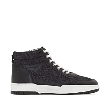 09b3c624e2b4 Image Unavailable. Image not available for. Color  La Redoute Collections  Big Boys Denim High Top Trainers ...