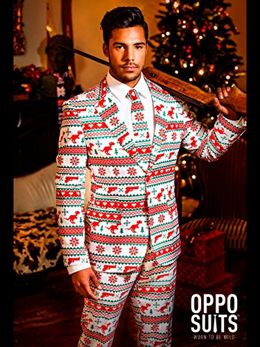 e1ee89e788ebe4 OppoSuits Christmas Suits for Men in Different Prints – Ugly Xmas Sweater  Costumes Include Jacket Pants & Tie