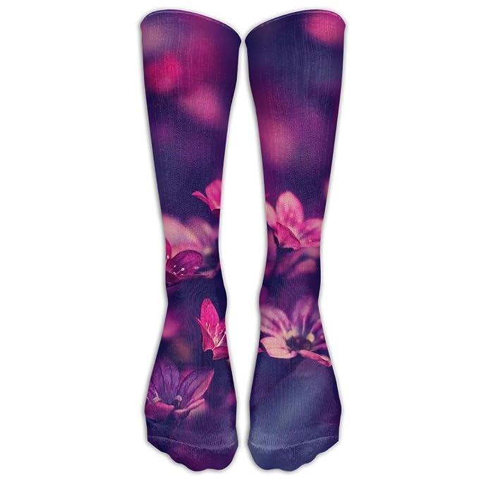 5d75c3a05c74b Amazon.com: High Boots Crew Purple Red Flower Compression Socks ...