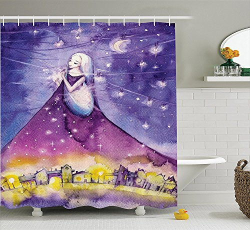 Girly Decor Shower Curtain Set Fictional Lady Stands in the Sky and Arrange the Stars Angel Fantasy Deity Symbol Print Bathroom Accessories Violet ()