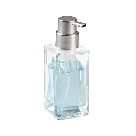 mDesign Dispensador de espuma recargable - Dosificador de jabón líquido de cristal con válvula dosificadora –