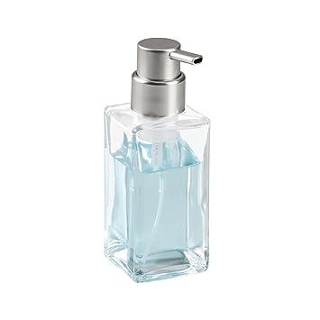 mDesign Dispensador de espuma recargable - Dosificador de jabón líquido de cristal con válvula dosificadora - Para 414 ml de jabón - Accesorios de baño ...