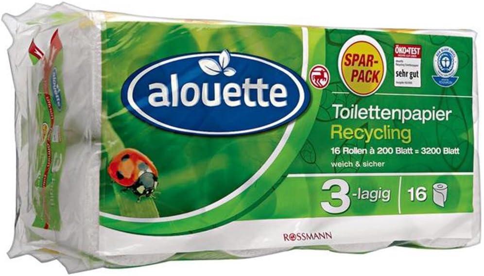 Alouette Recycling Toilettenpapier 16 Rollen A 200 Blatt 3200 Blatt 3er Pack Amazon De Kuche Haushalt