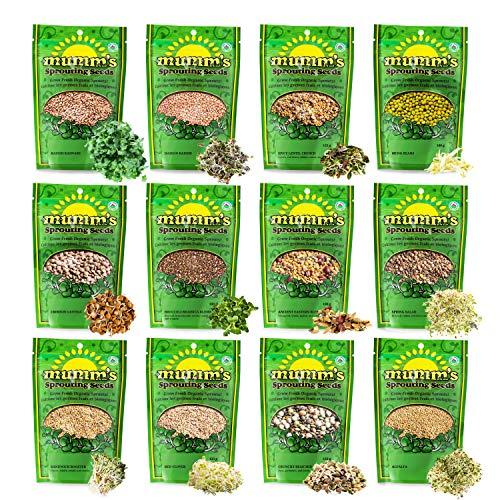 Mumm's Sprouting Seeds - Boosted Sample Pack - 1,325 GR - Organic Sprout Seed Kit - Broccoli, Radish, Alfalfa, Mung Bean Certified Organic Alfalfa Seeds