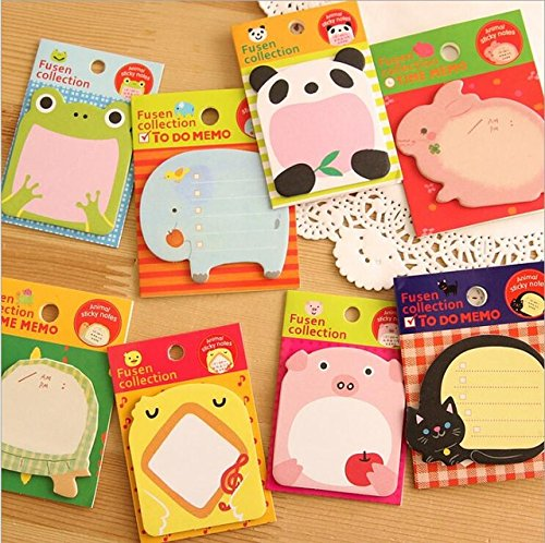 4 Pcs New Korean DIY Kawaii Animal Sticky Notes Creative Post Notepad Filofax Memo Pads Office School Stationery (Post It Note Heart Dispenser)