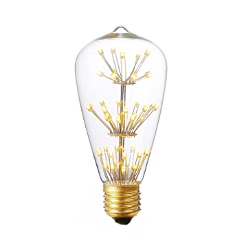 Vintage LED Light Bulbs,AMZSTAR ST64 3W E27 Dimmable LED Lamp Glass Retroe  Bulb Edison
