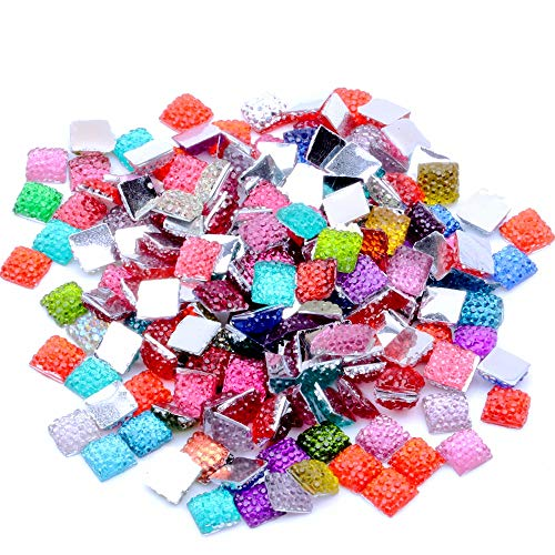 Mix Colors and Crystal ab 6mm Pack Glue on Square Flatback Resin Rhinestones Without Hole Beads Gems DIY Scrapbooking Crafts (Mixed Colors, 6mm Approx -