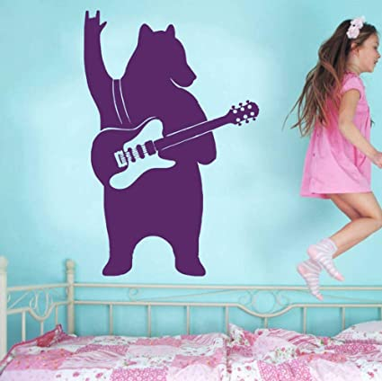 Arte Decoración para el hogar Oso con guitarra Música Hogar para el hogar Vinilos decorativos Vinilo