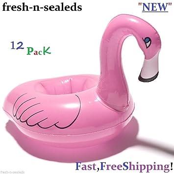 12 unidades hinchable rosa Flamingo posavasos. Taza Bebida Soporte piscina flotador: Amazon.es: Hogar