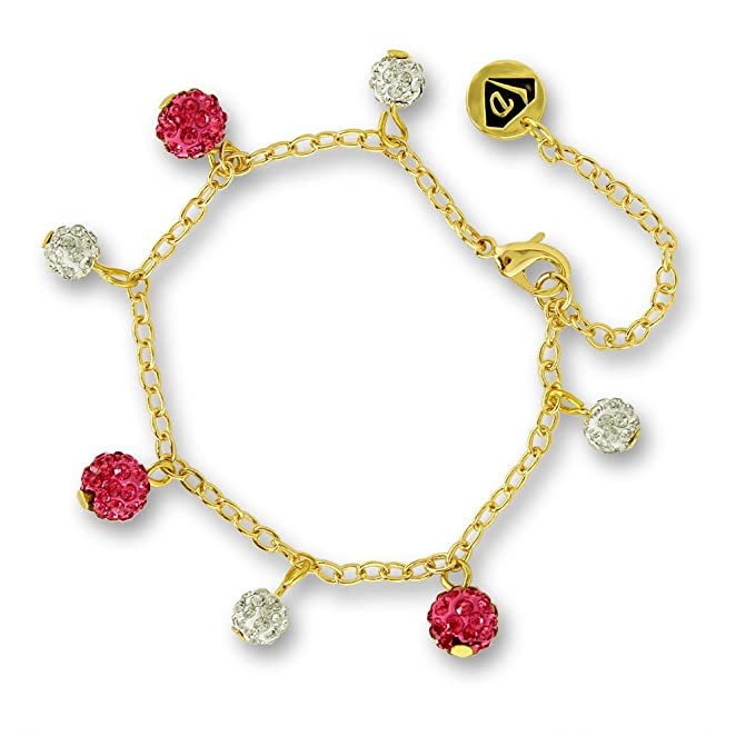Crystal Ball Charm Bracelet Girls Jewelry Set Best Gifts for Girls 14k Gold Plated