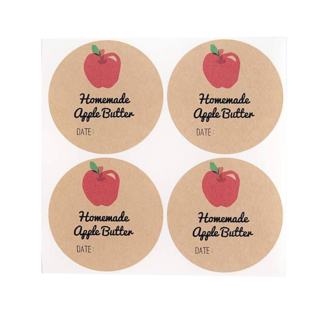 Homemade Apple Butter Labels by Once Upon Supplies, Canning Labels, 2 Inches Size for Regular Mouth Mason Jars, 40 Pcs
