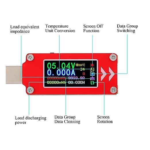 Usb Digital Power Meter Tester Typ C Multimeter Strom Und Spannungsüberwachung Spannungsmessgerättest Geschwindigkeit Der Ladekabel Kapazität Der Power Banks Gewerbe Industrie Wissenschaft