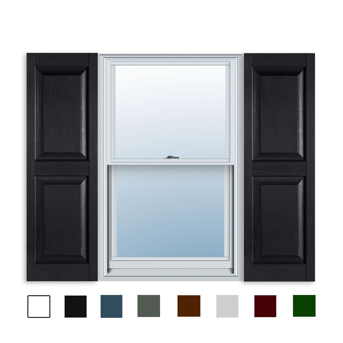 15 Inch x 55 Inch Standard Raised Panel Exterior Vinyl Shutters, Black (Pair) by ExteriorSolutions.com