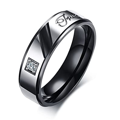 30892de6f5bd Suohuan Jewelry His   Her Stainless Steel True Love Engraved Solitaire  Zirconia Couple Matching Rings Band
