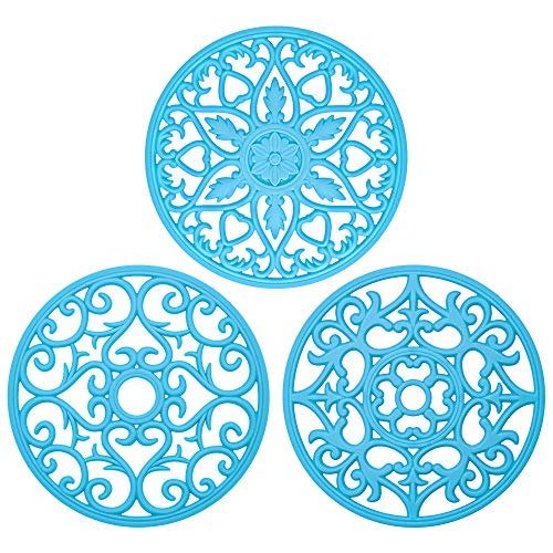 (Bligli Silicone Pot Holder Mats Hot Pads Spoon Rest, Multipurpose Trivet Durable Dishwasher Safe Heat Resistant for Hot Dishes Food Grade Silicone Set of 3)