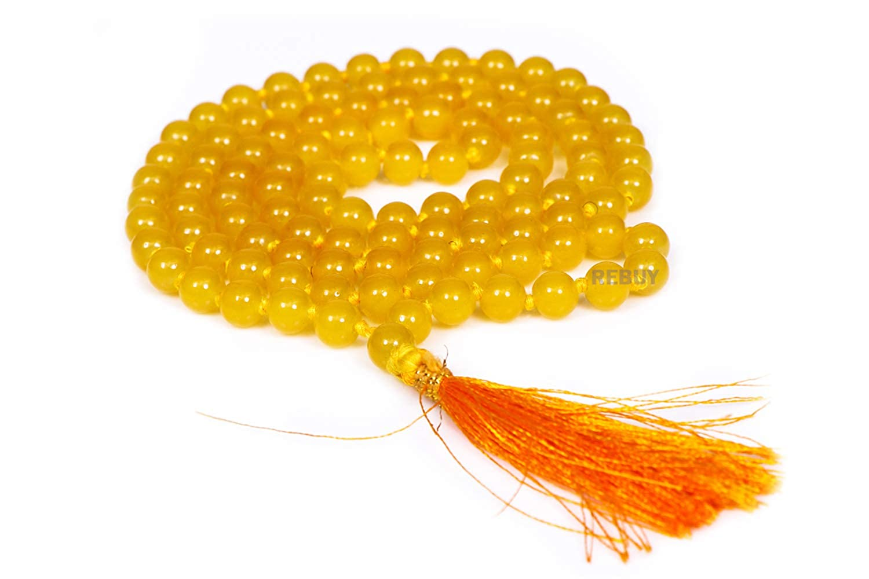 yellow jade mala 8mm beads