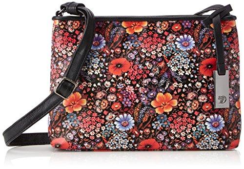 Tom Tailor Denim Mila Flower - Shoppers y bolsos de hombro Mujer Negro (Schwarz)