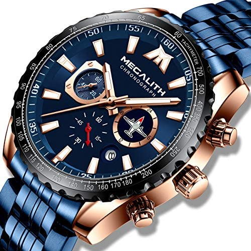 MEGALITH Mens Watches with Stainless Steel Waterproof Analog Quartz Fashion Business Chronograph Watch for Men, Auto Date WeeklyReviewer