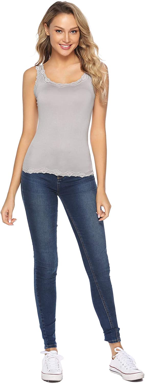 Abollria D/ébardeur /à Bretelle Dentelle Top Camisole T Shirt Femme sans Manche Haut Chic Confortable D/écontract/é Basique
