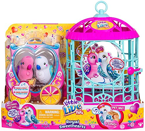 NEW! Little Live Pets Royal SWEETHEARTS LOVE BIRDS with Cage - Two New Birdie Best Friends!