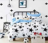 Getmorebeauty Sweet Star White Soft Duvet Cover Set Queen Size (White)