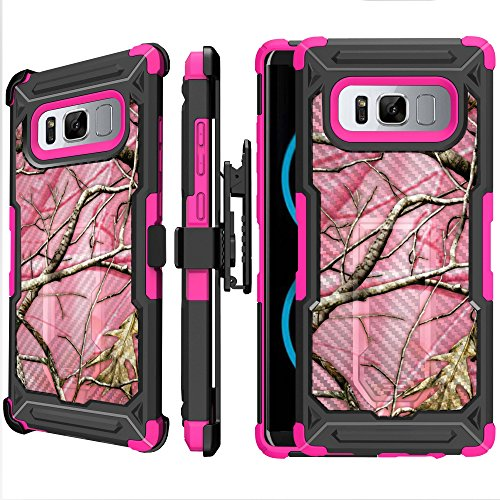 MINITURTLE Case Compatible w/Rugged Samsung Galaxy Note 8 Bumper Case [Note 8 Pink UFO Defense Case][CarbonFiber Textured] Note 8 Stand and Holster Case w/Pink Shock Silicone Pink Hunters Camo