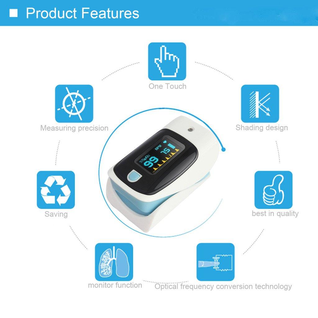 Toprime 1002BE Dedo Oxímetro Monitor Cardíaco con Pantalla LED Modo De Termómetro Azul y Blanco