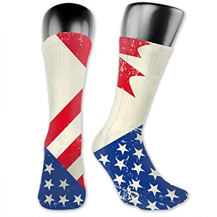 Amazon com: Broken American and Canadian Flags Ankle Socks
