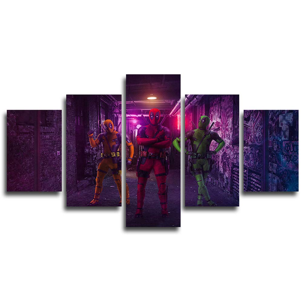 AtfArt 5 Piece Three Deadpool Canvas Painting for Living Room Home Decor Canvas Art Wall Poster (No Frame) Unframed Mr-15
