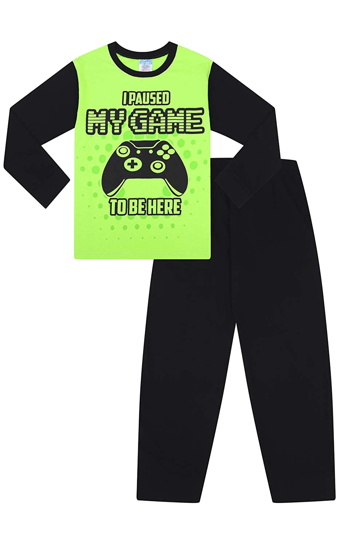 Colore Pigiama Lungo con Scritta I Paused My Game to Be Here Pyjamafactory Verde