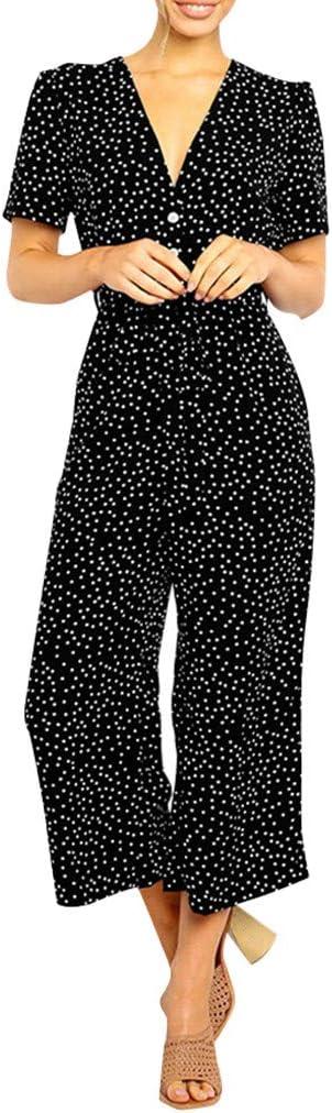 Monos Mujer Fiesta Elegantes Verano Sunnsean Mameluco De Manga Corta Cuello En V Profundo Estampado De Flores Trajes De Vestir Petos Mujer Pantalones Largos Anchos Monos Verano Mujer Jumpsuit Ropa Pantalones